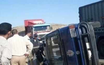 مصرع واصابة 6 من افراد الشرطة اثر انقلاب بوكس على طريق المنصورة جمصة