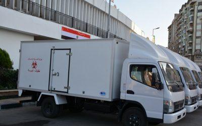 تسليم 4 سيارات لمديرية الصحة بالدقهلية لنقل النفايات الطبية الخطرة