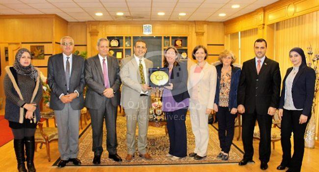 وفد الوكالة الأمريكية للتنمية وهيئة الأمديست في ضيافة جامعة المنصورة