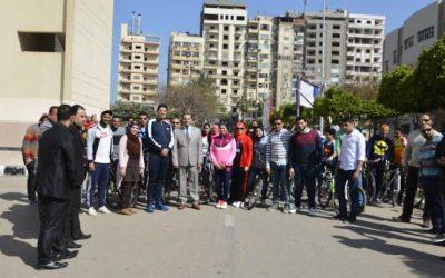 جامعة المنصورة تنظم ماراثون للدراجات ضمن فعاليات اسبوع مكافحة الفساد
